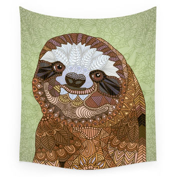 Society6 Smiling Sloth Wall Tapestry