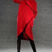Red winter coat wool coat warm jacket C026