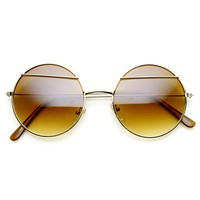Trendy Womens Round Fashion Eyelid Metal Sunglasses 9393
