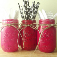 Red and Pink Painted Mason Jars, Hand Painted, Rustic - Style Mason Jars -- 3 Painted Mason Jars