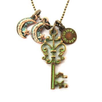 Vintage Skeleton Key and Moon Shaped Charm Necklace in Brass | DOTOLY