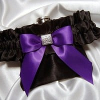 Flask Garter - Black Satin Flask Garter with a Playful Purple Bow a...... | You-NiqueGarters - Wedding on ArtFire