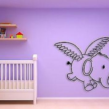 Wall Sticker Flying Elephant For Kids Children Decor For Nursery Room Unique Gift z1511
