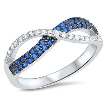Blue Sapphire Russian Lab Diamond Infinity Ring