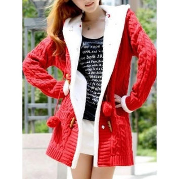 Red Womens Long Sleeved Fashion Long Cardigan Sweater One Size MM0445r