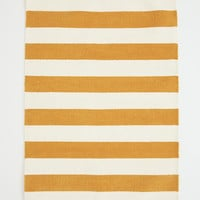 Cotton rug with pompoms - Yellow/White striped - Home All | H&M GB