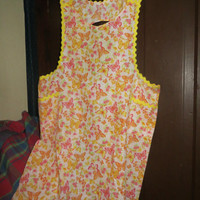 Vintage Retro Mid Century Full Apron butterflies and flowers yellow trim