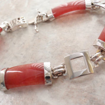 Red Jade Bracelet Sterling Silver Link Chinese Characters 7.5 Inch Vintage 083013MF