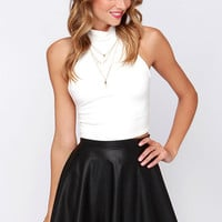 Chic Prep-utation Black Vegan Leather Mini Skirt