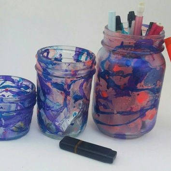 Marbled Mason Jars- Pencil Holder Jars- Painted Mason Jars- Office Decor- Home Decor- Dorm Decor- Unique Home Decor- Unique Desk Organizer