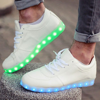 Charming Unisex LED Light Luminous Lace Up Sportswear Sneakers