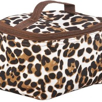 World Traveler Brown Animal Print Cosmetic Makeup Case