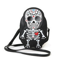 Cute Little Spooky Sugar Skull Day of the Dead Skeleton Cross Body Bag Purse