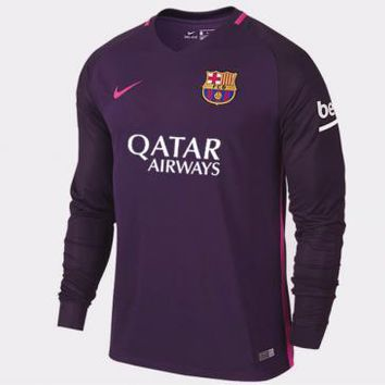 Barcelona 2016/17 Away Men Long Sleeve Soccer Jersey Personalized Name and Number