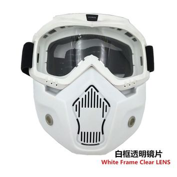 Motorcycle Helmet w/ Detachable Goggles And Mouth Filter