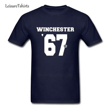 Supernatural Winchester Jersey #67 Adult T Shirt Printed Loose T-Shirt Men's Short Sleeve O Neck Tees Teenage Newest Clothing
