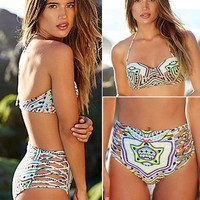 High Waisted Bikini w/ Vibrant Print