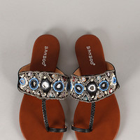 Bamboo Cope-52 Beaded Toe Ring Flat Sandal