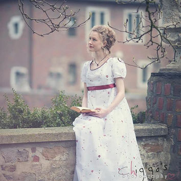 Rose: Empire dress or regency dress like Jane Austen dresses, romantic wedding dress great for maternity, made to order, empire waist style
