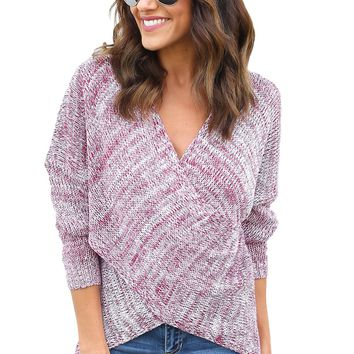 Red Long Sleeve Chunky Cross Wrap V Neck Tunic Pullover Sweater
