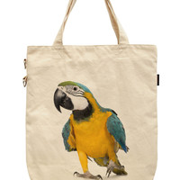 Women Macaw - Ara ararauna Printed Canvas Tote Shoulder Bags WAS_39