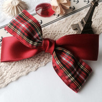 Red grid hair bow clip,french barrette, fabric, girls bow, christmas