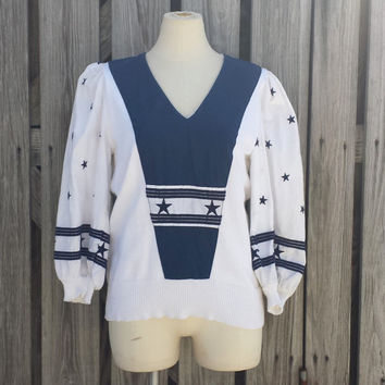 VTG Women's SAILOR Sweater - Stars n Stripes - White n Blue - Zip Up Back - SZ S / M