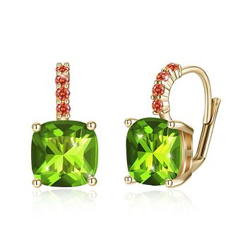 Unique In Style Trendy Earrings Green Asscher Cut Swarovski Pave Leverback in 14K Gold