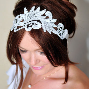 Bridal Headband Lace Headband Ivory Headwrap Bridal Hair Band Vintage Head wrap Hair Scarf  Romantic Girly Flowers Laces  Gift