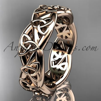14kt rose gold celtic trinity knot wedding band, triquetra ring, engagement ring CT7392G