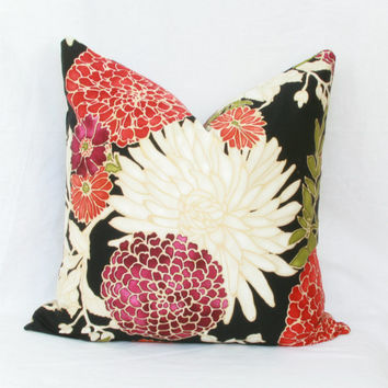 "Orange & plum floral decorative throw pillow cover. 18"" x 18"". 20"" x 20"". 22"" x 22"". 24"" x 24"". 26"" x 26"". lumbar sizes"