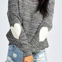 Grey Love Oversize Round Neck Long Sleeve Pullover Sweater