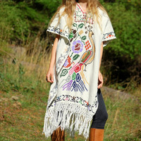 70s Embroidered Mexican Poncho, Peacock Floral White Woven Hippie Boho Dress Top, 1970's Cross Stitch Handmade Ethnic Fringed Poncho Cape