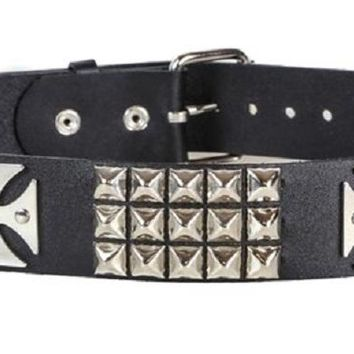 "3-Row Silver Pyramid Stud & Iron Cross Black Leather Belt 1-3/4"" Wide"
