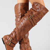 Vickie-16H Buckle Slouchy Thigh High Flat Boot