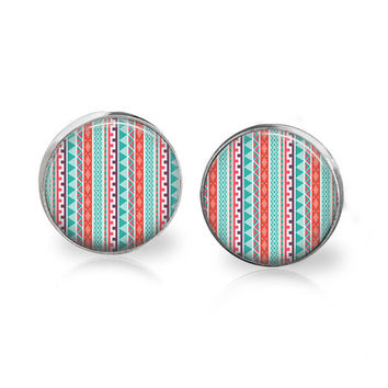 Modern Earrings Silver Glass Studs Modern Tribal Pattern Earring Aztec Print Aztec Pattern Red and Blue Geometric Line Art Turquoise Jewelry