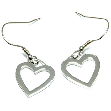 Stainless Steel Heart Shaped Charm Style Earrings