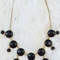 Black Bubble Necklace & Earrings Set