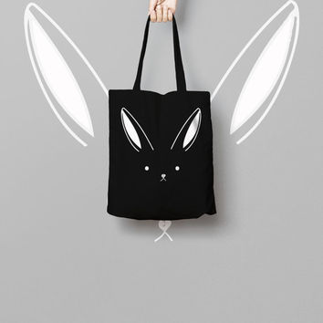 Bunny Rabbit Black Tote Bag Canvas Printed, Market Bag, Cotton Tote Bag, Large Canvas Tote, Funny Grocery Bag, Designer Tote Bag canvas