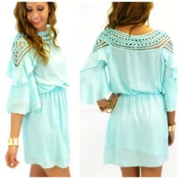 Cha Cha Chica Mint Applique Neckline Dress