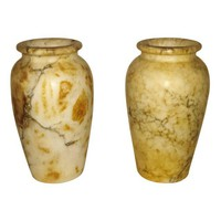 Antique Italian Alabaster Vases - Pair