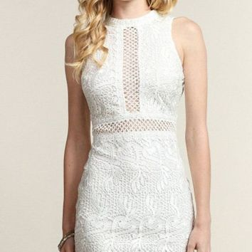 Weekends in the City Crochet White Lace Dress