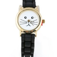 Rhinestone Kitty Watch - Silicone Watches at Pinkice.com