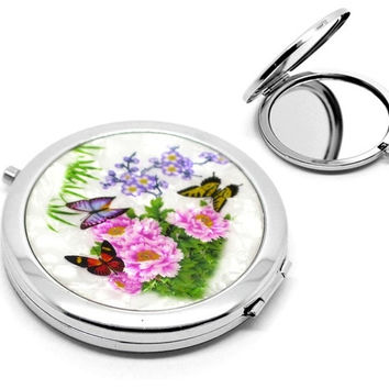 "1PC Butterfly Pattern Make Up Compact Mirror (3""x2-3/4"") (Size: 7.7cmx7cm, Color: Multicolor) = 1705764740"
