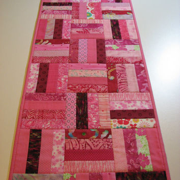 Quilted Table Runner--Pink Scrappy Patchwork
