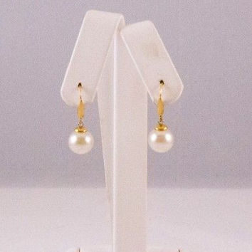 MAJORICA Sterling Silver Drop Dangle Gold Clip on Earrings White Pearl Hanging