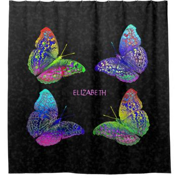 Colorful Bright Rainbow Colors Butterflies Drawing Shower Curtain