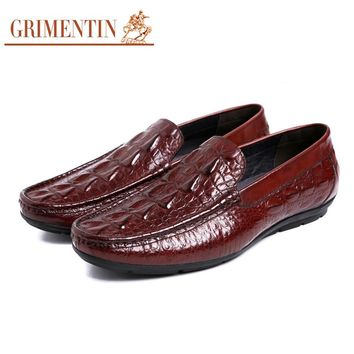 Men Loafers Brand Designer Luxury Genuine Leather Men Shoes Dress Slip On Crocodile Pattern Casual Flat Shoes Driving Moccasins