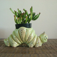 Vintage RRPCo Green Inchworm Planter by sofralma on Etsy