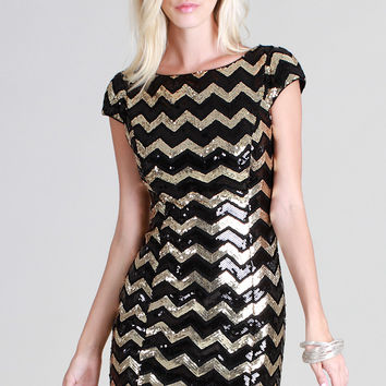 DIXIE Chevron Sequins Party Dress